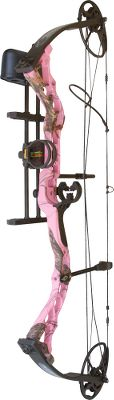 Hunting Diamond Archery offers a complete line of bows A great bow for small-frame shooters. Custom tune the Infinite Edge bow without the use of a bow press. Adjustable 13 to 36 draw length and 5- to 70-lb. draw weight make this bow ideal for target shooters and hunters of all sizes. Available in right-or-left handed. Camo pattern: Pink Blaze. Diamond Archery Infinite Edge Package includes: bow, three-pin Truglo Apex sight, Hostage XL arrow rest, Octane DeadLock Lite quiver, tube peep sight, BCY string loop. Color: Pink. - $349.99