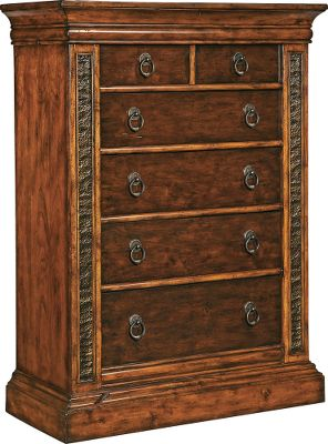 Hunting Bring the natural majesty of the Big Sky country to your bedroom dcor with the premium Montana Collection. Chest of Drawers features richly grained birch and select maple with a rustic Deer Lodge finish for the perfect mix of elegance and careworn appeal. Each is truly a handcrafted work of art offering top-grade functionality and heirloom-quality durability. Hammered metal inserts add eye-catching texture and perfectly complement the natural warmth of the wood frames. All fully sealed, felt-lined drawers are made of solid wood with first-rate English or French dovetail joinery. Waxed wood-on-wood drawer slides and exclusive hardware throughout add to the quality of every piece. The Chest of Drawers features six drawers (four large, two small). Dimensions: 58H x 42W x 20D. - $1,369.99