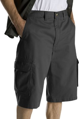 Guns and Military Rugged, relaxed-fit shorts made of stonewashed, 100% peached cotton twill for a broken-in look and feel. Bellowed cargo pockets provide ample room for accessories. Casual, comfortable waistband. Imported. Inseam: 13.Even waist sizes: 30-44. Colors: Black, Dark Navy, Maple, Olive Green. - $27.99