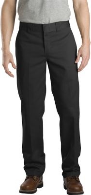 Entertainment Get to work without getting wrinkled. Durable, wrinkle- and stain-resistant cotton-twill blend work pants have a slim, straight fit and sit slightly below the waist. Longer tunnel belt loops. Two back pockets. 65/35 polyester/cotton twill. Imported. Inseams: 30, 32. Even waist sizes: 30-44. Inseam: 34. Even waist sizes: 30-36. Colors: Black, Dark Navy, Khaki. Size: 34. Color: Black. Gender: Male. Age Group: Adult. Material: Twill. Type: Pants. - $29.99