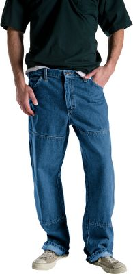 For tough all-day work, put on Dickies Mens Double Knee Denim Carpenter Jeans made with heavy-duty construction. Crafted of rugged 14-oz. denim, all seams are triple-stitched for durability, and the double-reinforced knees are made to withstand on-the-job abuse. Legs easily fit over work boots. Equipped with a heavy-duty brass zipper, a double tool pocket on left leg and rivets at stress points. Stonewashed for a broken-in look and feel. 100% cotton. Imported. Inseams: 30, 32. Even waist sizes: 30-46. Inseam: 34. Even waist sizes: 30-42. Color: Stone Wash Blue. Size: 30-46. Color: Stone Wash Blue. Gender: Male. Age Group: Adult. Material: Denim. - $33.99