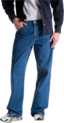 Triple-stitched seams and riveted stress points deliver hardworking durability that complements the relaxed-fitting comfort of Dickies Mens Denim Carpenter Jeans. Theyre made of heavy-weight, 14-oz. 100% cotton denim thats stonewashed for broken-in feel. Dual tool pockets and hammer loop. Legs cut to fit over boots. Brass zipper. Imported. Even waist sizes: 30-46. Inseams: 30, 32. Even waist sizes: 30, 32-42. Inseam: 34. Color: Stone Washed Blue. Size: 30-46. Color: Stone Wash Blue. Gender: Male. Age Group: Adult. Material: Denim. - $31.99