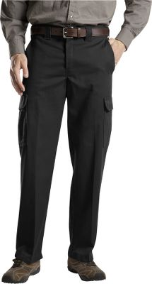 Entertainment These rugged cargo pants have a relaxed straight fit thats perfect for staying comfortable at work. Made of 8-1/2-oz. 65/35 polyester/cotton twill for softness, wrinkle resistance and long-lasting durability. Stain-release finish keeps them looking like new. Distinctive tunnel-style belt loops. Pleated cargo pockets. Imported. Even waist sizes: 30-44. Inseams: 30, 32. Even waist sizes: 32-42. Inseam: 34. Colors: Black, Dark Navy, Desert Sand. Size: 36. Color: Desert Sand. Gender: Male. Age Group: Adult. Material: Twill. Type: Pants. - $32.99