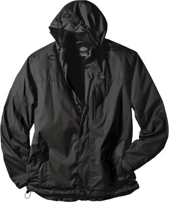 Guns and Military Waterproof, breathable and wind-resistant Storm technology offers foul-weather performance with legendary Dickies quality. Its seam-sealed, 3.8-oz. 100% polyester dobby ripstop shell provides tear- and abrasion-resistant durability with packable convenience. A durable water-repellent finish beads moisture on contact. Breathable 100% polyester mesh lining in the body for warm-weather comfort. Smooth 100% nylon taffeta in the sleeves for easy layering. Fully adjustable three-piece hood with visored front. Packs into chest pocket for space-saving storage. Inner security pockets. Full-zip front with storm flap. Adjustable cuffs. Drawcord-adjustable hem. Imported. Sizes: M-3XL.Colors: Black, Cement, Smoke, Dark Navy, Aged Brick. - $59.99
