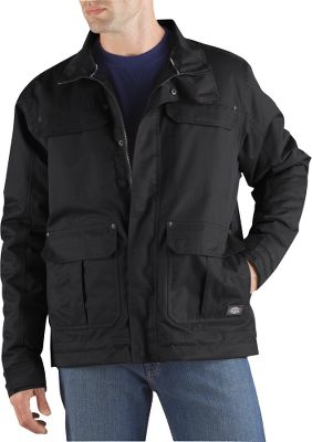 Technical weatherproof performance in a jacket that has the look and feel of a classic work coat. Its seam-sealed, 5.3-oz. 100% polyester twill shell is backed by a windproof, waterproof and breathable laminate for all-season comfort. Lined with 100% nylon and polyester fill for warmth and smooth layering. Pit zips for on-demand ventilation and thermal regulation without removing layers. Drawcord-adjustable hem for a draft-stopping fit. Dual-entry cargo pockets. Full-zip front with storm flap. Adjustable cuffs. Internal media pockets. Imported.Sizes: M-3XL.Color: Black. - $110.99