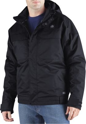 Technical weatherproof performance in a jacket that has the look and feel of a classic work coat. Its seam-sealed, 5.3-oz. 100% polyester-twill shell is backed by a windproof, waterproof and breathable laminate for all-season comfort. Lined with 100% nylon and polyester fill for warmth and smooth layering. Pit zips for on-demand ventilation and thermal regulation without removing layers. Detachable hood for greater versatility. Drawcord-adjustable hem for a draft-stopping fit. Dual-entry cargo pockets. Full-zip front with storm flap. Adjustable cuffs. Internal media pockets. Imported.Sizes: M-3XL.Color: Black. - $99.99
