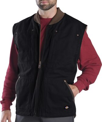 Hunting This hardworking vest features a 12-oz. 100% cotton sanded duck shell for broken-in comfort and triple-needle stitching for long-lasting durability. Its high-loft 9-oz. sherpa fleece lining provides plush warmth at winter job sites. Side-entry handwarmer pockets. Interior security pockets. Heavy-duty brass zipper. Imported.Sizes: M-3XL.Colors: Brown Duck, Black, Nubuck, Timber. - $59.99