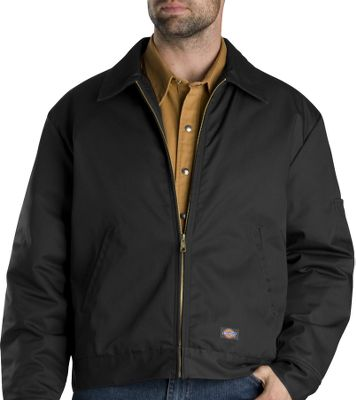 Entertainment Dickies most-popular jacket, and for good reason: Its lightweight, warm and incredibly durable. It has slash front pockets, adjustable waistband tabs, a pencil pocket on the sleeve and heavy-duty brass front zipper. Polyester/cotton vat-dyed twill with quilted nylon/polyurethane-foam lining. Industrial-laundry friendly. Imported. Tall sizes: M-3XL. Colors: Black, Charcoal, Dark Brown, Khaki, Dark Navy. Size: Large. Color: Black. Gender: Male. Age Group: Adult. Material: Polyester. Type: Jackets. - $54.99