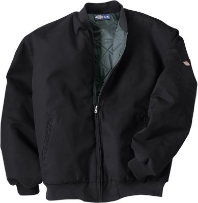Entertainment A long-time working-man's staple, this warm, rugged jacket features an 8-oz. polyester/cotton twill shell and quilted nylon/polyurethane-foam lining. Slash front pockets; pencil pocket on sleeve. Knit collar, cuffs and waist. Industrial-laundry friendly. Imported. Sizes: M-4XL. Colors: Black, Charcoal, Dark Navy. Size: X-Large. Color: Dark Navy. Gender: Male. Age Group: Adult. Material: Polyester. Type: Jackets. - $49.99