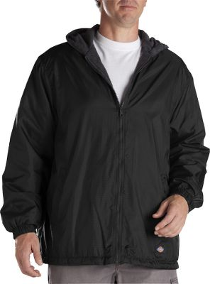 Entertainment The 100% nylon ripstop shell boasts a polyurethane coating and a durable water-repellent finish for water-resistant performance. The hood, full-zip front, elastic cuffs and drawstring hem work together to block out the elements. Soft, moisture-wicking 100% polyester fleece lining. Slash handwarmer pockets. Convenient interior pocket for essentials. Imported. Sizes: S-5XL. Colors: Black, Dark Navy. Size: Large. Color: Black. Gender: Male. Age Group: Adult. Material: Nylon. Type: Jackets. - $29.99