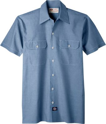 Made of lightweight, 4-oz. cotton/polyester chambray, this short-sleeve shirt provides tough, relaxed-fit comfort for work and play. Two chest pockets with flaps and button closures. Imported.Sizes: S-4XL.Color: Blue. - $24.99