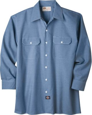Made of lightweight, 4-oz. 60/40 cotton/polyester chambray, this long-sleeve shirt provides tough, relaxed-fit comfort for work and play. Two chest pockets with flaps and button closures. Imported.Sizes: S-3XL.Color: Blue. - $29.99