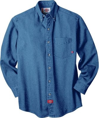 Relaxed-fit, 8-oz. 100% cotton denim shirt boasts a button-down collar, box-pleat back and tailored sleeve plackets with double-button cuffs. Replacement buttons on front placket. Imported. Sizes: S-3XL. Colors: Stonewashed, Indigo Blue. Size: Large. Color: Indigo Blue. Gender: Male. Age Group: Adult. Material: Denim. - $37.00