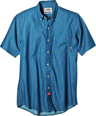Relaxed-fit, 8-oz. 100% cotton denim shirt boasts a button-down collar and a classic box-pleat back. Replacement buttons on front placket. Imported. Sizes: S-3XL. Colors: Stonewashed, Indigo Blue. Size: Small. Color: Stonewashed. Gender: Male. Age Group: Adult. Material: Denim. Type: Short-Sleeve Shirts. - $34.00