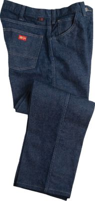 The relaxed fit through the seat and thighs gives this pair of carpenter jeans the free mobility needed for your active lifestyle. Constructed of durable, flame-resistant, 14-oz. denim for hard-working durability and safety. Two front and two rear pockets, and one coin pocket. Decorative stitching on rear pockets for added style. 100% cotton. Imported. Sizes: Inseam: 30. Waist sizes: 30, 32, 33; 34-44 (even). Inseam: 32. Waist sizes: 30, 32, 33; 34-44 (even). Inseam: 34. Waist sizes: 32-34; 36-42 (even). Inseam: 36. Waist sizes: 32-40 (even). Color: Denim. - $69.99