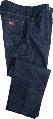 The relaxed fit through the seat and thighs gives this pair of carpenter jeans the free mobility needed for comfort during hard work. Built of durable, flame-resistant, 14-oz. denim for on-the-job safety. Two front and two rear pockets, one coin pocket and a dual-tool pocket with a hammer loop. Heavy-duty brass zipper. 100% cotton. Imported. Sizes: Inseam: 30. Waist sizes: 30-44 (even). Inseam: 32. Waist sizes: 30-34; 36-46 (even). Inseam: 34. Waist sizes: 30, 32-34; 36-46 (even). Inseam: 36. Waist sizes: 34-38 (even). Color: Denim. - $69.99