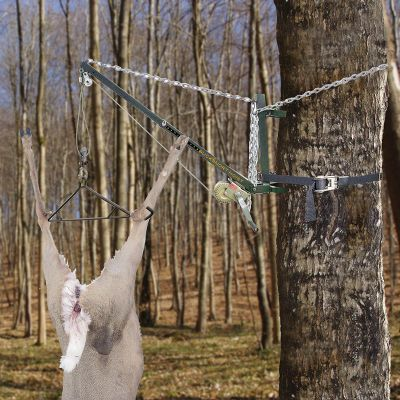 Hunting A hoist that does double duty as a game hoist and feeder hanger. It comes with 8.37 ft. of chain to secure the hoist to a tree or pole. You also receive 26.25 ft. of lift cable on a ratcheting crank system and a strong metal gambrel. Safely hoist game or feeders weighing up to 500 lbs. Entire kit folds into a handy carry duffel. - $149.99