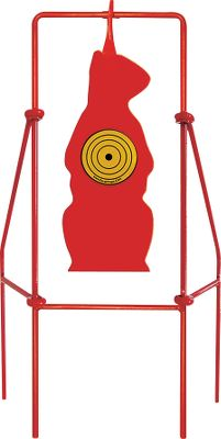 Entertainment Sharpen your varminting skills with any firearm firing soft-nosed bullets from 9mm to .30-06 on this life-sized spinning prairie dog target. Shaped like one of the burrowing rodents sitting up, the target will clang and spin when hit so youll know immediately if youre on target. Four metal stabilizing legs hold the target in the ground, and the unit is easily moved for practice at a variety of ranges.Pistol calibers minimum distance of 30 yards. .270 to .30-06 minimum distance of 100 yards. .22-250 to .223 minimum distance of 200 yards. Soft-nose lead bullets only. Type: Targets. Type: Target. - $42.88