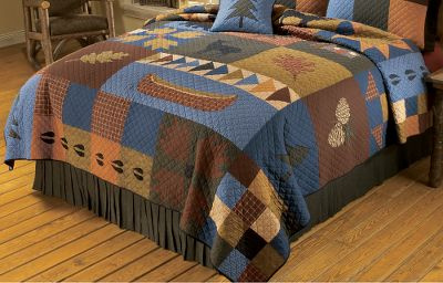 "Entertainment The imaginative bedding collections of Donna Sharp represent some of the finest quilted creations you can own. This ensemble s centerpiece is the wilderness outside your window. Together, the effect on your bedroom is well worth the price. 100% cotton. Imported.Available: Full/Queen 90"" x 92"" King 108"" x 92"" - $194.88"
