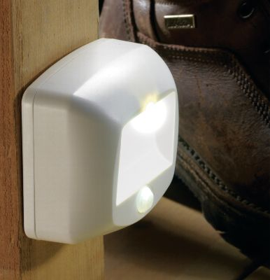 "Camp and Hike Illuminate indoor stairways and outdoor steps with this super-bright, motion-sensing light. It detects motions up to 15 ft. away in a 270 field. The long-running LED glows faintly all night and brightens fully when it detects movement. Simple installation no complicated wiring required. It attaches to virtually any flat surface. Weather-resistant plastic housing. Runs on three C batteries for about a year. Motion sensor toggles on and off. Mounting hardware included. Dimensions: 3-1/2"" x 3-1/4"" x 1-3/4"". - $14.88"