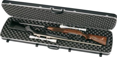 Hunting This sturdy case holds all combinations of two shotguns or rifles with scopes. Two ultra-soft, thick, convoluted foam strips of interlocking padding; piano-hinge along the back for solid, non-binding opening and closing; aluminum-reinforced edges for a tight seal. Dual locks. Twin carrying handles. Meets FAA requirements. Size: 52 x 13 x 4 . Color: Black. - $139.99