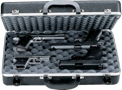 Protect up to four of your handguns at home or transport them to the field or range. Two ultra-soft, thick, convoluted foam strips of interlocking padding; piano-hinge along the back for solid, non-binding opening and closing; aluminum-reinforced edges for a tight seal. Dual locks. Twin carrying handles. Meets FAA requirements. Size: 18 x 14 x 4 . - $69.99
