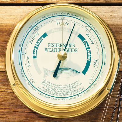 It's no secret that when the barometer moves, the fish bite. And when your home or cabin is outfitted with this accurate barometer, you will always know when you need to be packing up the boat and heading for the lake. The round brass frame gives it a nautically inspired look that's right at home on a boat or in a living room. Adjustable up to an altitude of 4,000 feet above sea level. Size: 5-1/4 (diameter) x 3 (depth). Gender: Male. Age Group: Adult. - $99.99