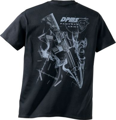 Hunting Wear the DPMS logo with pride and enjoy the excitement of a smoking AR-15 rifle print with flying brass. Made of preshrunk 100% cotton. Imported. Sizes: M-2XL. Color: Black. Size: Medium. Color: Black. Gender: Male. Age Group: Adult. Material: Cotton. - $12.49