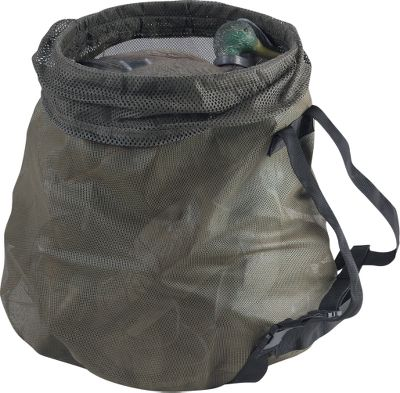 Hunting Drake built a heavy-duty plastic ring into the mouth of this deke bag to make loading and unloading as easy as possible. They also styled the bag like a pyramid, meaning it is wider at the bottom than on top. This allows the bag to stand on its own when loaded. Made of a vinyl-coated polyester mesh, this bag will take all kinds of abuse and keep coming back for more. Holds 24 magnum or 30 standard-sized duck decoys. Color: Olive. Color: Olive. - $44.99