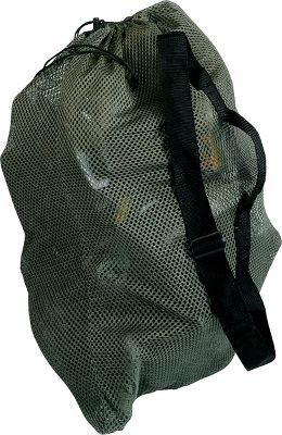 Hunting A compact, lightweight decoy bag ideal for long hikes when field or timber hunting. Also a great choice for the boat hunter who carries a small spread. Carries up to 12 magnum or up to 20 standard duck decoys. Made of heavy-duty rotproof porthole mesh polyester with 2 web shoulder strap and separate handle. Barrel-lock closure secures the opening. Color: Timber. - $11.99