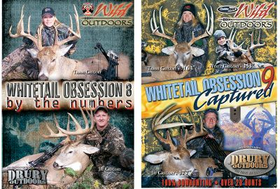 "Hunting In Whitetail Obsession 10 watch the Wild Outdoors team on 20 exciting bowhunts. Be there when Jay and Tammi Gregory double up on 180"" and 193"" late-season whitetails from the same ground blind! Wyatt Gregory's in on the action as well, with a 150""-class bad boy. 150 minutes. In Whitetail Obsession 9, Jay Gregory and family take you through the trials and tribulations of hunting big deer. Over 20 hunts from 2008. 150+ minutes. In Whitetail Obsession 8, watch Jay Gregory and the Wild Outdoors Pro Staff take you through the numbers game of hunting big bucks. Over 15 breathtaking hunts from 2007. Whether it's with a bow or a gun, these hunts are sure to keep you on the edge of your seat. 100+ minutes.Available:Whitetail Obsession 8 and 9 Combo 35 breathtaking bow and gun hunts for giant whitetails. 250+ minutes.Whitetail Obsession 9 and 10 Combo Over 40 hunts for more whitetail trophies. 300+ minutes. - $19.99"