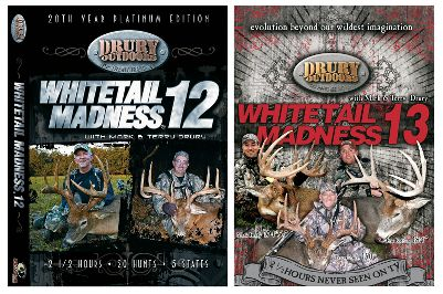"Hunting Learn how to deal with weather variables and how to pattern ultrawary whitetails from the masters in Whitetail Madness 12. It includes 20 hunts in five states and 150 minutes of footage. Whitetail Madness 13 includes 15 hunts, resulting in bucks averaging over 150"", including a 184"" Kansas bow kill and a close-range 174"" Missouri rifle buck. 150 minutes.Available:Whitetail Madness 12 and 13 Combo Plenty of huge bucks meet their maker in this two-DVD combo. 35 hunts. 300 minutes. - $16.88"