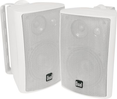 Entertainment Pump up the volume with these 4 50-watt speakers with 100-watt peak. Each is rated for outdoor use with a UV-resistant ABS enclosure and durable aluminum grill. Rotating logo for versatile mounting options. Includes multiangle mounting brackets. - $39.99