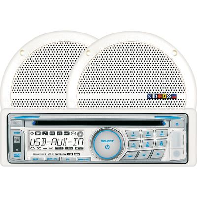 Entertainment Get a complete stereo package at a low price. Play the radio, CDs or charge your USB device while riding the waves. The AM/FM radio comes with a detachable face, 30-station memory (18 FM, 12 AM), blue/white display and rust-resistant chassis. The CD player is CD-R and CD-RW compatible, and has an anti-shock mechanism and a three-beam laser pick-up. The front panels USB connection charges most USB devices. This system has an output of 4x25 watts to connect to two 100-watt, 6-1/2, corrosion-resistant cone speakers. - $99.99