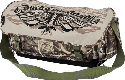 Hunting Carry the Duck Commander logo with pride while keeping your shooting gear organized in this signature blind bag. Emblazoned with a stylish mix of Duck Commander graphics and camouflage, this rugged, 600-denier polyester canvas bag has a rough-and-ready look, while the shell dispenser gets you loaded and ready quickly. Imported.Dimensions: 10H x 19W x 8D.Camo pattern: Realtree MAX-4. Type: Blind Bags. - $49.88