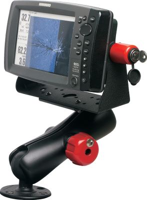 Camp and Hike The E-LOCK/Swivel Combo combines two great locks by DuraSafe. The universal design of the E-LOCK fits most popular GPS, fish finder, chartplotter and VHF brands. Its simple, compact and easy to install. The Swivel Mount Lock comes in three sizes and fits most popular marine electronic mounts available from RAM: Lowrance, Humminbird, Garmin, Raymarine, Cobra, Standard Horizon, Uniden and Icom. Each sold separately or in a keyed-alike set. Includes two locks. Available: Original E-Lock (Size C): fits 1.5 RAM mounting Ball. Heavy-Duty E-Lock (Size D): fits 2.25 RAM mounting ball. Note: Sonar unit with bracket and RAM mounting system not included. Kit only includes the red locking knobs shown in the photo. Color: Red. - $35.99