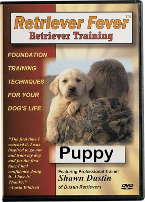 Hunting Retriever Fever Dog Training DVDs will help you properly train and educate your retriever.Available:Puppy - Set a training foundation for your dog's life (puppy to adult) with these tips and techniques from expert dog-trainer Shawn Dustin. Details the desire to please, retrieve and ability to understand training pressure. Topics include: puppy selection, crate training, introduction to training equipment, birds and water, Question Answer and more.47 min. Gun Dog - Covers everything from obedience to force training in the field. Covers in detail: force training, confidence building, hunt stimulation, upland work, and obedience. 75 min. Advanced - Step-by-step guide to using electronic collars, multiple marks and hand signals. Discusses: use of electronic collars, whistle commands, advanced retrieves, hunt tests, and much more. 108 min. Subject: Dog Training. Type: Books & DVD's. Type: Dog Training DVDs. Title Gundog Dvd. - $24.88