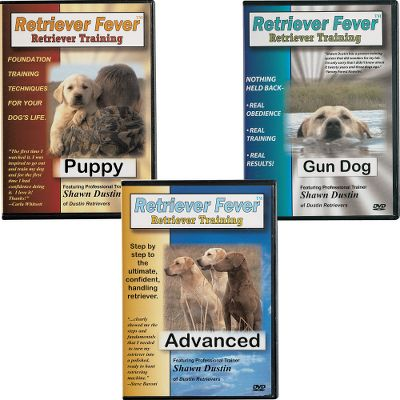 Hunting Retriever Fever Dog Training DVDs will help you properly train and educate your retriever.Available:Puppy - Set a training foundation for your dog's life (puppy to adult) with these tips and techniques from expert dog-trainer Shawn Dustin. Details the desire to please, retrieve and ability to understand training pressure. Topics include: puppy selection, crate training, introduction to training equipment, birds and water, Question Answer and more.47 min. Gun Dog - Covers everything from obedience to force training in the field. Covers in detail: force training, confidence building, hunt stimulation, upland work, and obedience. 75 min. Advanced - Step-by-step guide to using electronic collars, multiple marks and hand signals. Discusses: use of electronic collars, whistle commands, advanced retrieves, hunt tests, and much more. 108 min. - $74.99