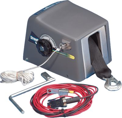 Dutton-Lainsons high-torque, 12-volt DC Electric Winches boast a power-in/power-out controlled freewheeling clutch with dual braking system. Both have an electric switch and clutch control knob (TW4000 has power-in and freewheel-out operation with a mechanical brake and single clutch control knob operation). Equipped with 20-feet of 2 polyester strap with a steel hook, and 12-volt vehicle wire harness. The TW4000 is for boats up to 4,000 pounds, the TW9000 is for boats up to 9,000 pounds. Manufacturers two-year warranty. Available: TW4000 For use with boats up to 4,000 lbs. Uses a 5/8 socket wrench (not included) as an emergency crank handle. TW9000 For use with boats up to 9,000 lbs. Includes emergency crank handle. Type: Winches. - $269.99