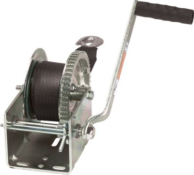 Outfit your trailer with the dependable performance of a Dutton Lainson winch and never wrestle with your boat to load it on the bunks again. The reversible ratchet-style construction with locking freewheel feature permits fast hookups at the ramp. Plus, all drive shafts have permanently lubricated bearings for low maintenance. The gears and wheel are arc-welded for superior strength and smooth operation. Heavy-duty steel handles with molded grips. All models available with a 2 nylon strap - $37.99