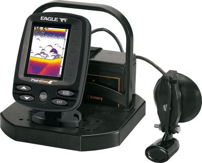 "Fishing The performance you depend on from Eagle sonar units is now more mobile than ever. The all-inclusive soft pack contains a rechargeable 12-volt, 8-amp battery and charger; suction-cup-mount 200kHz transducer and the Eagle FishEasy 350 Color Sonar. The compact sonar features a sunlight-viewable, 320V x 240H, 3.5"", 256-color active-matrix display and 800 watts of fish-finding power. It also has high-speed HyperScroll screen updates, adjustable ping speed and Colorline bottom definition. Pack has a protective durable plastic frame encased in water-resistant 600-denier nylon with an easy-to-carry web handle. It's the ideal package for fly-in fishing camps or switching between boats with ease. Manufacturer's full one-year warranty. - $249.99"