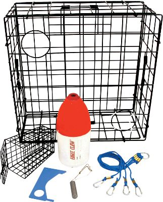 "Fishing 24"" trap constructed of PVC-coated wire. 3"" mesh allows undersized crabs and other small animals to escape. Storage Dimensions: Collapses to 36"" x 24"" x 1"".Includes: Trap, bait cage, buoy marker, harness, line weight and shellfish gauge. - $49.88"