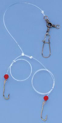 Fishing 40-lb., 6 monofilament snell comes rigged with two long-shank gold baitholder hooks on 16 leaders with red-bead attractors. Three-way swivel with snap for quick weight attachment. Per Each. Hook sizes: 2, 4, 6. Size: SIZE 4. Color: Gold. Type: Snells. - $1.49