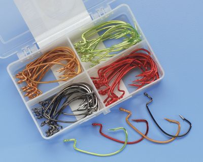 Fishing All the sizes and popular colors of hooks you need for catching bass on soft plastics. Lazer Sharp hooks have Z-Bend, an extra-wide gap and heavy wire. Five hooks in each color/size variable: 2/0, 3/0, 4/0 and Red, Chartreuse, Krawfish and Black Pearl. Tackle box included. Type: Hook Kits. - $12.88