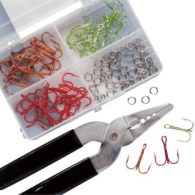 Fishing Replace your rusty or broken treble hooks with Lazer Sharp colored ones that inspire more strikes. Kit includes eight hooks in each of three different colors in both size 4 and 6. Also included are a tackle box, 52 split rings and split-ring pliers for easy installation. - $12.88