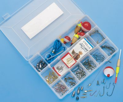 Fishing This general fishing kit includes the necessary tackle you need to get started for the season. Includes 21 sinkers, eight floats, 10 bobber stops, 20 swivels, four leaders, 28 Aberdeen hooks, eight treble hooks, 20 Plain Shank hooks, 20 Baitholder hooks, 16 Octopus hooks, 10 Worm hooks, 12 Snell hooks, Fish Tip booklet , stringer and box. - $22.99