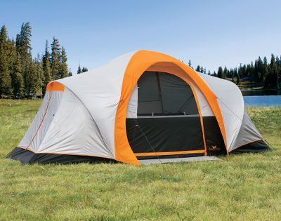 Camp and Hike You wont find a better value or a better price on a dome tent that sleeps eight comfortably. Complete with Ever Dry lasting rain protection and factory-taped fly and floor seams. Comfort is not compromised with enhancements, like the cup holder pocket, gear loft, extension cord port and welcome mats that keep the inside clean. A silver-coated rain fly reduces inside temperatures by reflecting sunlight. Color coding for quick-and-easy assembly. Bug-resistant mesh screen. Rear storage locker. Includes a zippered polyester duffle bag. Type: Dome Tents. - $109.88