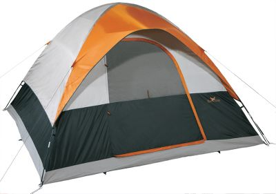 Camp and Hike From individual campers and couples to small families and groups, Cabelas has a dome tent to suit your needs. Though great for camping spring through fall, this 5-person tent is especially suited for warm-weather camping. Tent has generous mesh on the side windows, doors and tops for superb ventilation. It also has a special silver-colored coating to reflect sunlight and keep interiors cool. Tent and fly material is sturdy polyester taffeta thats polyurethane-coated for extra water resistance. Interior storage pockets provide organization. Shock-corded fiberglass poles. Floor dimensions: 11 x 11. - $59.88
