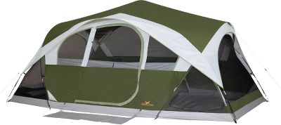 Camp and Hike If your family wants to really experience outdoor adventures, you need this super-spacious tent. This 10-person, 15-ft. x 10-ft. tent has the generous floor space needed to sleep a large family. The rear closet and built-in storage pockets keep extra gear out of the way. The power-cord pocket creates convenient electric-cord access. The mud mat helps keep the interior clean. For superior durability, the rain fly and the tent are built of 68-denier polyester taffeta. For wet-weather protection, the rain fly and the tents floor and walls boast a 600mm polyurethane coating that completely seals out the elements. Strong shock-corded poles make setting up easy. Includes carry bag. Imported.Weight: 26-lbs., 6-oz.Dimensions: 15 x 10. - $169.99