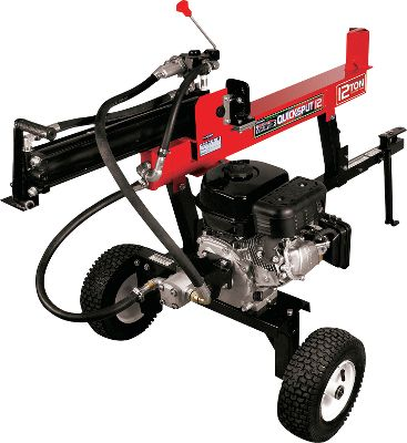 "Make short work out of your next firewood-splitting job. The 206cc, 6.5-hp Viper engine packs a 12-ton punch to split logs up to 21""L. The splitting wedge is engineered for maximum efficiency and adjusts for two waist-high and ground-level splitting heights. Plus, this 221-lb. workhorse has a low center of gravity and a telescoping tongue for safe off-road towing by a vehicle (not for highway use). Dimensions: 82-1/2""L x 33""W x 32""H. - $799.99"